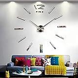 Rosa Schleife® Moderne DIY Große Wanduhr 3D Sticker Metall Große Uhr Zimmerdeko Tolles Geschenk für Hausdekoration (Riegel)
