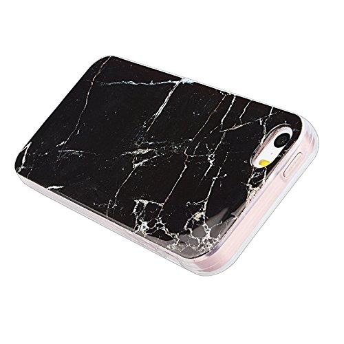 iPhone 5 / 5S / SE Hülle, Yokata Marmor Gradient Edelstein Farbe Case Soft Flexible Weich TPU Silikon Gel Backcover Schutzhülle Cover Skin Schutz Schale Protective Cover + Stylus Pen x 1 - Schwarz Schwarz