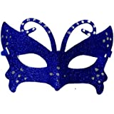 Blue Sparkly Glittered Masquerade Ball Fancy Dress Eye Mask