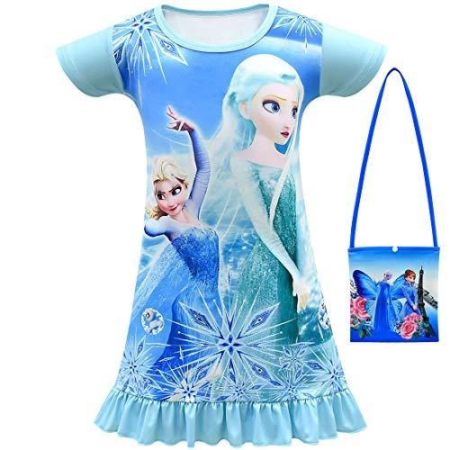 QYS Schneekönigin Kleinkind Nachthemd für kleine Mädchen Pyjama Kleid,Blue,110cm