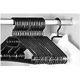 Keplin 20x Premium Kleiderbügel mit Wirbelhaken, schwarz, 40cm breit