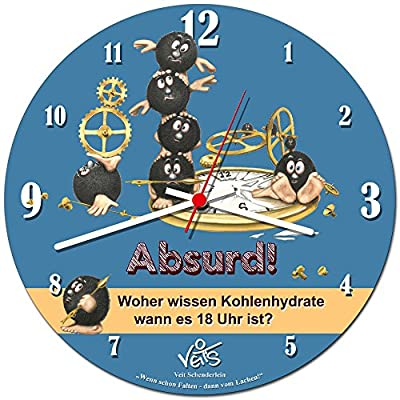 Veit's Novel, Funny Cartoon Wall Clock/Kitchen Clock–Absurd. Where Carbohydrates Know When It 18? from Veit's