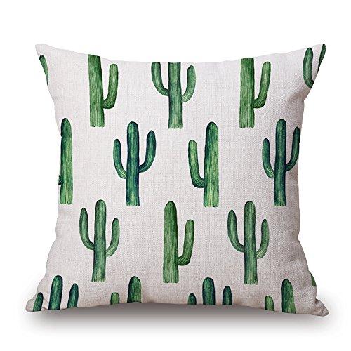 Kaktus Baumwoll-Leinen Dekor Kissen Abdeckung 45X45cm Kissenbezug Werfen für Sofa-Bett-Auto (Type D) (Kaktus Dekor)