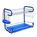 Kurtzy 2 Tier Steel Chrome Plated Durable Dish Drainer Crockery Cutlery Plates Glass Rack Organizer Holder Drip Tray 40x26x34