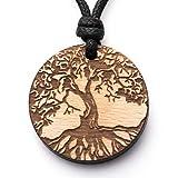 treeforce Baum des Lebens Weide Halskette, Schlüsselanhänger oder Auto- Anhänger 3in1 DIY Schmuck aus Buchenholz