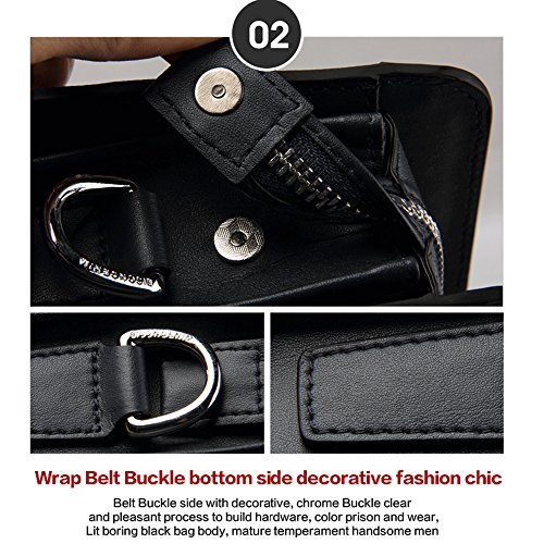 BISON DENIM Herren Ledertasche Leder Umhängetasche Aktentasche Laptoptasche Arbeitstasche Businesstasche Handtaschen Messenger Bag (Schwarz[2PCS]) Blue