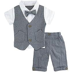 A&J Design Bebé Niño Gentilhombre Raya con Corbata de moño Formal Traje Conjunto (Gris, 1-2 Años)