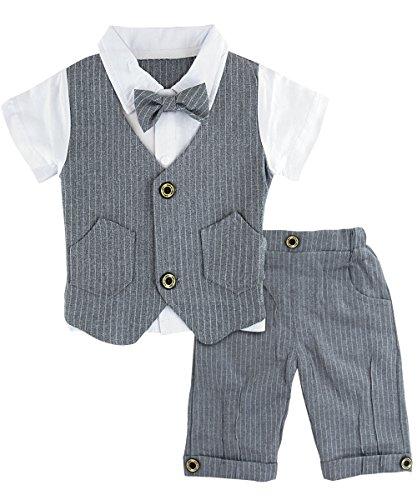 A&J Design A&J Design Baby Junge Anzug 2 TLG Gentleman Streifen Kleidung kurzen Ärmeln mit Bowtie (Grau, 12-18 Monate/80)