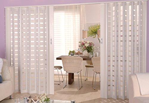 Doppelfalttür MARLEY New Generation Fb. Weiß, Fenster Karo weiß satiniert B 172 x H 205 cm