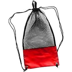 Sharplace Sac à Dos pour Équipement de Plongée sous-Marine Masques Lunettes Palmes Sac Rangement Sport Nautique - Rouge, 48 x 27 cm