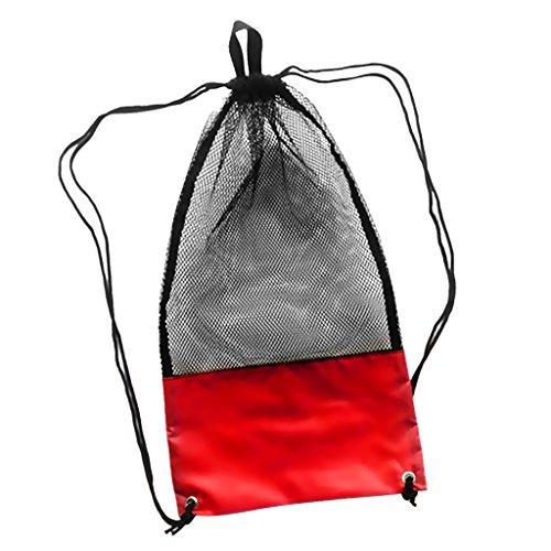 Sharplace Netzbeutel mit Schultergurt, 74cm x 33cm, Sport Rucksack / Mesh Bag / Stausack / Tauchtasche / Schnorcheltasche / Flossentasche / Sport Netztasche - Rot und Schwarz