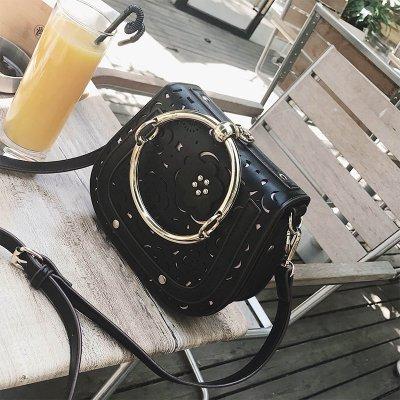 LiZhen lo stesso pacchetto nuovo femmina selvatica elegante anello sella borsa pacchetto estate marea tracolla messenger bag, aggiornare i gusci grigio Mini Pacchetto Incisione nera pacchetto Mini