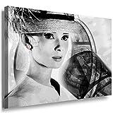 Julia-art Leinwandbilder - Audrey Hepburn Bild 1 teilig - 80 mal 60 cm Leinwand auf Rahmen - sofort aufhängbar ! Wandbild XXL - Kunstdrucke QN.46-4