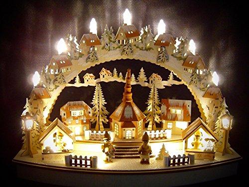 Unbekannt Sigro Vogtland Souvenir Laser LED Lichterbogen mit Snowy Christmas Markt, Fensteraufkleber, einschließlich Adapter, beige, 32x 45x 18cm