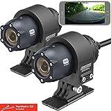 Thinkware M1 - Telecamera per Moto da 1080p, Doppia Telecamera Anteriore e Posteriore per Moto Impermeabile Moto Recorder, ATV, Sport Action Camera. Scheda SD da 32 GB e Cavo Rigido. App Android/iOS.