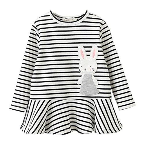 Hirolan Kinderkleidung Stickerei Hase Babykleidung Günstig Mädchen Gestreift Prinzessin Kleid 2T-6T Baby Strampler Outfits Mode Kleinkind Jacke Lange Hülse Kleider Knie-Länge (120CM, Weiß)