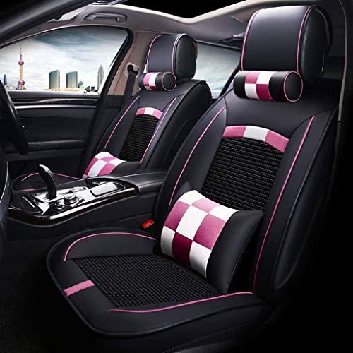 H.aetn Set coprisedili Auto Universal Set, Cuscini in Pelle per sedili Anteriori e Posteriori Cuscini per sedili con Cuscini (Colore: Rosa)