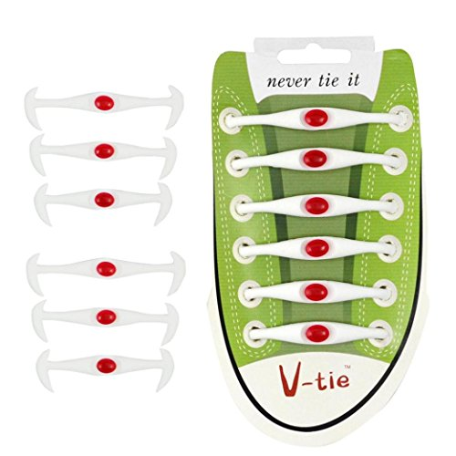 Bluestercool 12Pcs Lacets Élastiques en Silicon No Tie Lacets pour Adultes et enfants sans Laçage pour Sports Shoes Sneaker Conseil Bottes (Blanc)