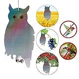 Senoow 2 Stück Gefälschte Eule Vogel Scare Repellent Reflektierende Hängevorrichtung mit klingelnden Glocken