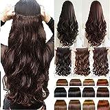 #9: Artifice 5 Clips Fashion 3/4 Head Clip Curly/Wavy Hair Extension, Dark Brown, 26-inch