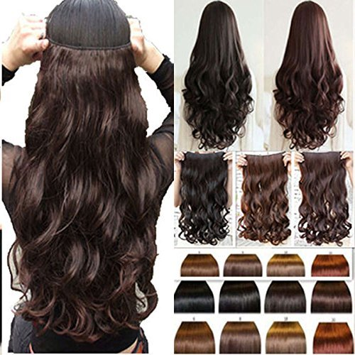 BigWave 5 Clips Based 24 inch Curly/Wavy Synthetic Fibre Hair Extension Brown