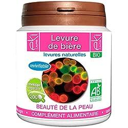 Levure de bière revivifiable BIO   200 gélules   Beauté De La Peau - Confort Digestif   320 mg dosage 100% naturel sans additif et non comprimé   EKI LIBRE