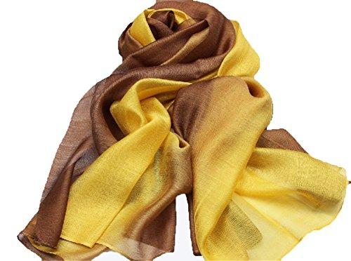 195*70cm Elegant stillvoll Seide Halstuch Stola Schal Farbverlauf Geschenk Freundin Damen (Gelb)