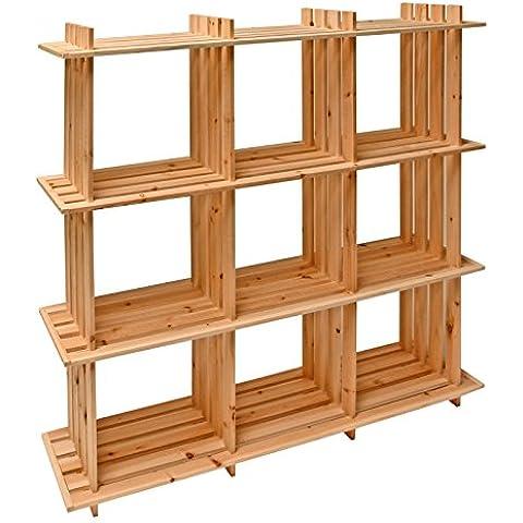 DEMA estantes de madera, 9 cajones, 113 x 27 x 110