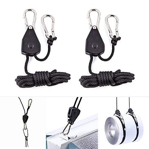 Ingrirt5Dulles 2 Stücke Seil Ratsche Lampe Kleiderbügel 1/8 zoll LED-Lichtreflektor Lifter Strap Sling Schwarz