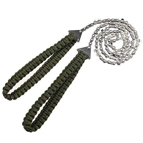 Auidy_6TXD Taschen-Kettensäge mit Paracord-Griff, 91,4 cm, 16 Zähne, Notfall-Outdoor-Survival-Gear, Klappkette, Handsäge, schnelles Holz- und Baumschneiden für Camping, Wandern, Jagd