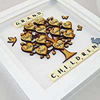 Gift for Grandparents. Family Tree Personalised Grandchildren frame. Framed Grand Children Family Tree. Christmas Present Gift for Grandparents. Grandchildren family tree 3d wall-art