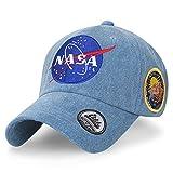 ililily NASA Meatball Logo Embroidery Baseball Cap Apollo 13 Patch Trucker Hat, Light Blue