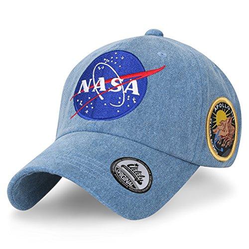 ililily NASA Meatball abgebildet im Logo Stickerei Baseball Cap Apollo 13 Flicken Trucker Cap Hut, Light Blue (Für Männer Trucker Hüte)