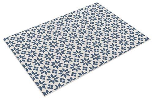 Pergamon In- und Outdoor Teppich Beidseitig Flachgewebe Newport Fliesenoptik Blau Creme in 5 Größen
