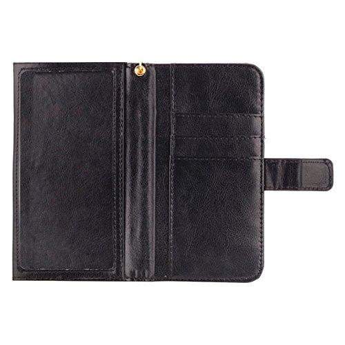 Phone case & Hülle Für IPhone 6 / 6S / 6S / 5 / 5S / 5C, Sony Xperia E4 / M4 Aqua 5.0 Zoll Universal Crazy Pferd Textur Tragen Fällen mit Touchscreen & Chain & Card Slots ( Color : Brown ) Black