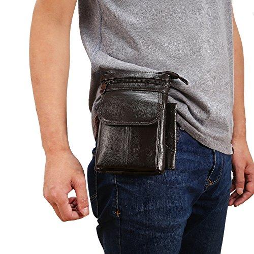 Universal Echtes Echtes Leder Hüfttasche Handytasche Vertikale Smartphone Holster Tasche mit Gürtelclip Haken Schleife Geldbörse Crossbody Messenger Bag für alle Handys Tablet unter 7inch