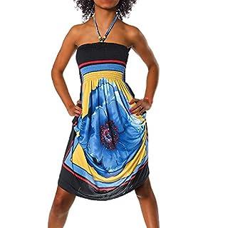 H112 Damen Sommer Aztec Bandeau Bunt Tuch Kleid Tuchkleid Strandkleid Neckholder, Farben:F-020 Blau;Größen:Einheitsgröße