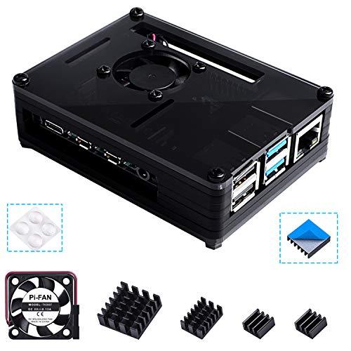 Bruphny Box for Raspberry Pi 4, Box Fan, 4 × Heatsink Compatible with Raspberry Pi 4 model B