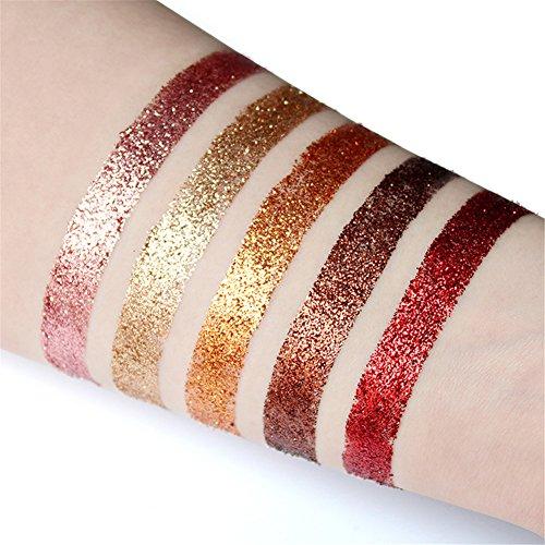 Eyeshadow Glitter Palette, Bulary 5 Colours Glitter Powder Eyeshadow Long Lasting & Shimmer Eye Shadow Pallet