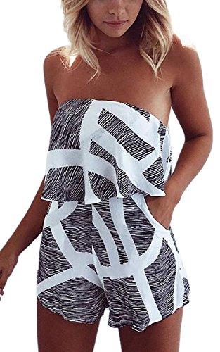 Minetom Femme Sexy Sans Manche Jumpsuit Bustier Rayure Combinaisons Bodysuit Cocktail Soirée Playsuit Romper Court Pantalon Gris