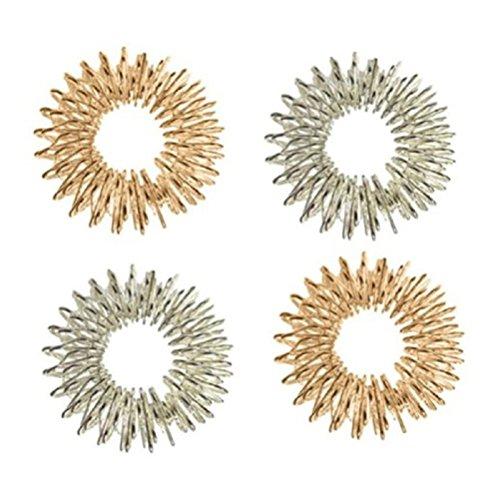 ROSENICE Massage Ringe Chinesische Medizin Akupressurringe 4pcs (Silber und Golden)