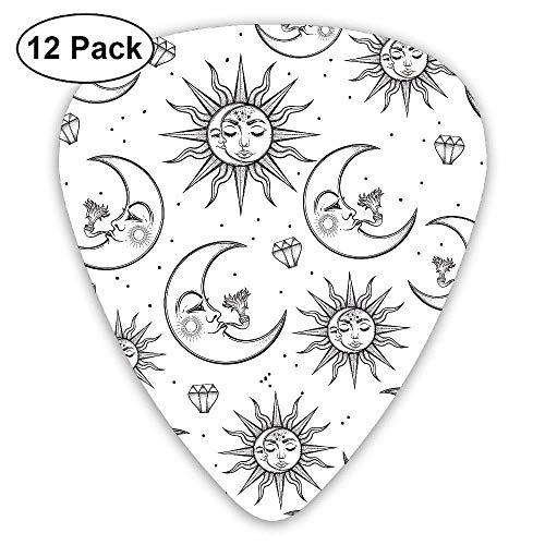 Sun Moon Stars Diamond Classic 12 Pack Guitar Picks Plectrums Bass Sun Diamond Girl