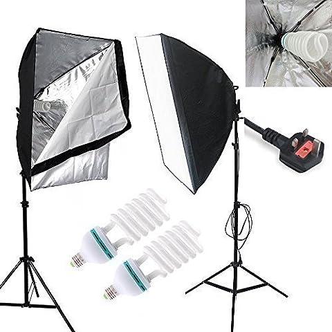 Un Maosen Profesional 5500k 2x150W luz del día Bombilla Almacenaje Light Studio,50x70Cm Softbox continua de luz kit