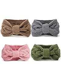 DRESHOW 4 Paires Crochet Turban Bandeau pour les femmes Warm Bulky Crocheted Headwrap