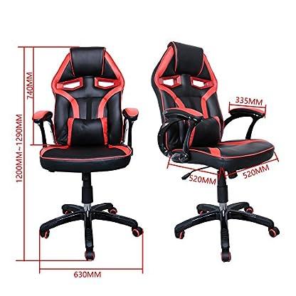51 N5KcQKnL. SS416  - HG Silla Giratoria De Oficina Gaming Chair Apoyabrazos Acolchados Premium Comfort Silla Racing Capacidad De Carga 200 Kg Altura Ajustable Negro/Rojo