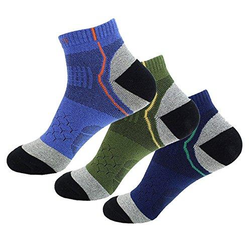 Mens Socken 3 Paar Wandern Socken Knöchel Low Cut Socken für Sport (blau, dunkelblau und Armee grün) (Champion Herren Low-cut-socken)