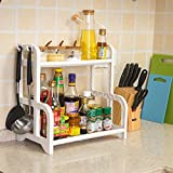 #1: Klaxon 2 Tier Multi Functional Kitchen Rack / Spice Rack/Kitchen Storage Rack/ Bathroom Cosmetic Organizer- White