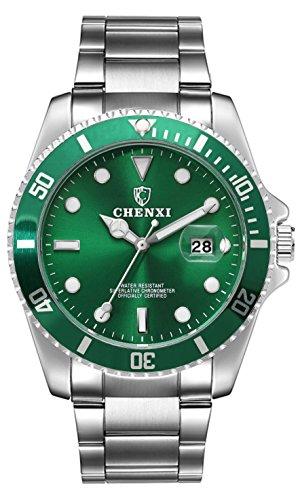 Herrenuhr Silber Edelstahl Armband, Luxus Wasserdicht Herren Uhren, Analog Quarz Herren Armbanduhr, Groß Business Uhr für Männer