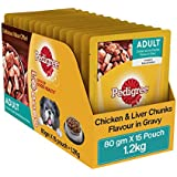 Pedigree Wet Dog Food, Chicken & Liver Chunks for Adult Dogs – 80g (Pack of 15)