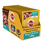 #1: Pedigree Wet Dog Food, Chicken & Liver Chunks for Adult Dogs – 80g (Pack of 15)